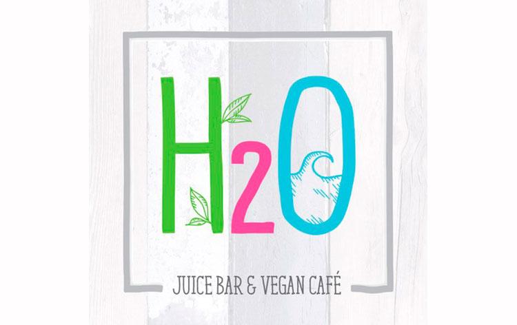 restaurante H2O Juice Bar Vegan Café logo enseña