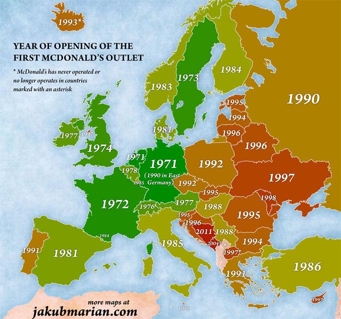 mapa de la franquicia McDonalds